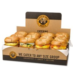 Dozen Egg Sandwich Nosh Box® <$50 to feed 12 also can do wraps or sandwich.  Bagel Poppers  Fruit Salads $44.99 to feed up to 20