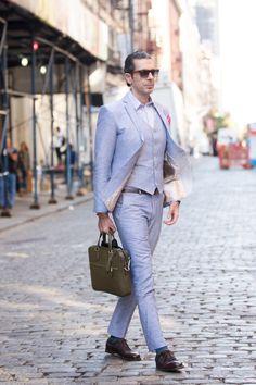 Moda masculina, fashion man, male, homem, look do dia, terno, linho, mala, pasta masculina, Soho, New York