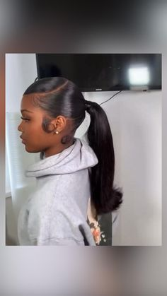 Long Ponytail Hairstyles, Hair Ponytail Styles, Sleek Ponytail, Crown Hairstyles, Weave Hairstyles, Black Girls Hairstyles, Curly Hair Styles, Natural Hair Styles, Black Hair Bun Styles