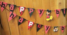 Mickey Mouse Theme Banner HAPPY BIRTHDAY Mickey Mouse Birthday Party Decorations