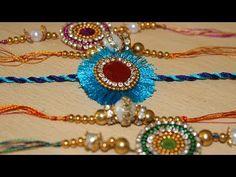 DIY Craft: Best ideas to make Rakhi - How to make beautiful rakhi at home - Latest Rakhi Design 2017 Paper Jewelry, Old Jewelry, Handmade Rakhi Designs, Rakhi Cards, Flip Flop Craft, Rakhi Making, Diy Jewelry Tutorials, Art N Craft, Bracelet Designs