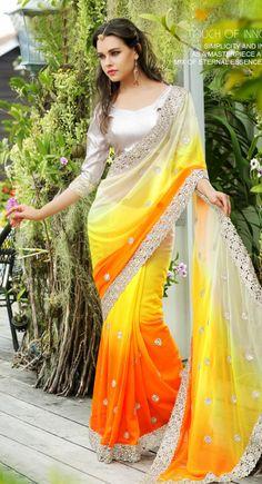 Flamboyant Deep Orange & Yellow Embroidered #Saree