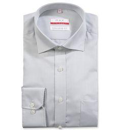 Modern Fit polopriliehavá šedá jednofarebná košeľa Tvil (keprová tkanina)