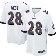 Men's Nike Baltimore Ravens #28 Terrance West Game White NFL Jersey