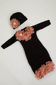 Black Newborn Infant Layette Black Baby Gown by MyLolliflopsLLC