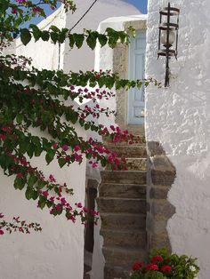 Patmos, Greece Beautiful Islands, Beautiful Places, Places Around The World, Around The Worlds, Skopelos Greece, Greek Flowers, Greek House, Archaeological Site, Mediterranean Sea