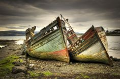 Abandoned fishing boats on Mull. One Life, Writing Inspiration, Fishing Boats, Canoe, Black And White Photography, Nature Photography, Beautiful Pictures, Writing Promps, Creative Writing