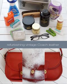 the blissfully obsessed Clean Leather Purse, Leather Purses, Leather Handbags, Vintage Coach, Vintage Bags, Vintage Jewelry, Coach Purses, Coach Bags, Diy Purse Organizer