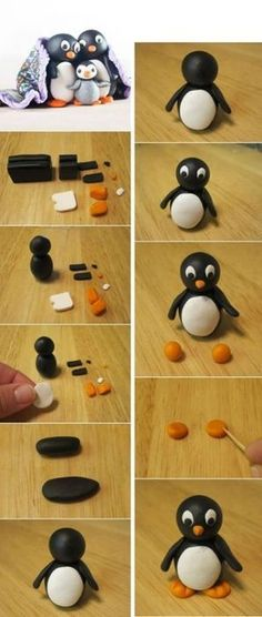 Drawing Hairstyles 135389532537596134 - FIMO DOUBLE PENGUEN – Women – Women DIY – Hairstyles – The idea of making Fimo a cute penguin was an idea that I really liked. After me he The Effec – Source by eleinesiffointe Fondant Figures, Clay Figures, Polymer Clay Miniatures, Polymer Clay Projects, Penguin Cakes, Kids Clay, Fondant Animals, Baking Clay, Polymer Clay Christmas