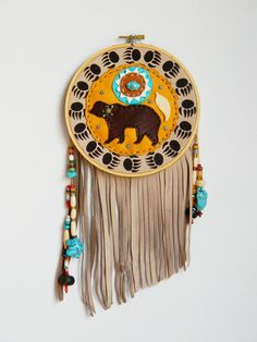Bear Design Leather Embroided Hoop Wall Hanging by ncbeadsnbags, $150.00