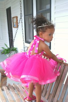 Minnie Mouse Themed Tutu Dress In Pink Polka Dots. via Etsy.