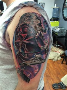 e2cff55e47c82 Star Wars Darth Vader tattoo with Tie Fighters, Death Star, and Star  Destroyer. Instagram/Youtube @Paqwetti