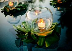 Floating flowers and candles in the fountain added a touch of beauty ...