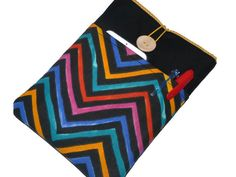 iPad Pouch / iPad case / iPad Sleeve/ iPad Mini Case cover / iPad Air pouch / iPad Mini Sleeve / iPad 2 Case / Multicolor Chevron Pockets by Driworks on Etsy