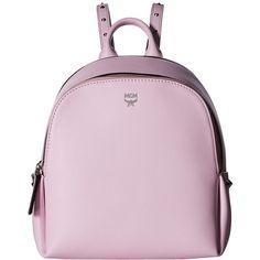 MCM Polke Studs Mini Backpack (Prism Pink) Backpack Bags ($950) ❤ liked on Polyvore featuring bags, backpacks, leather backpack, mini rucksack, genuine leather backpack, pink backpack and pink mini backpack