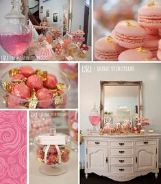 HOST a Lovely in Pink Party + Accessorize with Touches of Gold! Like, buying Pink French Macaroons and topping them with Edible Gold Leaf from a Baking Store.
