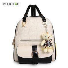 5c2a76dcc1e Fashion Women Backpack Bear Accessary Shoulder Bag School Bags for Teenager  Girl Backpack Mochila Feminina Bolsas Rucksack