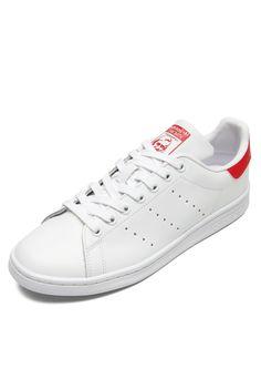 Tênis Couro adidas Originals Stan Smith Branco Vermelho - Marca adidas  Originals a6a62b4451256