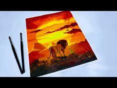 Painting Tutorial of The Lion King 2019 cover on Canvas using Acrylic Colors Simple Acrylic Paintings, Acrylic Painting Tutorials, Easy Paintings, Watch The Lion King, King Painting, Sunrise Painting, Learn To Paint, Acrylic Colors, Cartoon Art