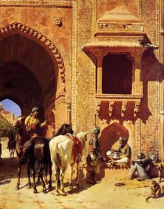 Gate Of The Fortress At Agra India - Edwin Lord Weeks - Oil Painting Reproductions Carl Spitzweg, Jean Leon, Empire Ottoman, India Painting, Arabian Art, Ludwig, Historical Art, Oil Painting Reproductions, Arabian Nights