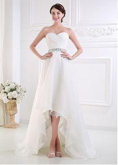 Organza Satin Hi-lo Wedding Dress With Crystal Beaded Satin Sash - Adasbridal.com