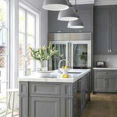 Gray kitchen.