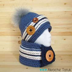 Patron tuque et cache-cou au crochet Crochet pattern hat and cowl