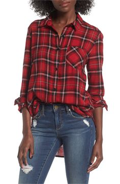 Plaid Cotton Blend Shirt This plaid button-front shirt may look like you stole it from his closet, but the perfectly relaxed fit makes it all yours. Style Name:Bp. Avail in blue, green, ivory and red Fall Outfits, Casual Outfits, Women's Casual, Casual Clothes, Women's Summer Fashion, Women's Fashion, Fashion Vintage, Fashion Trends, Fashion Styles