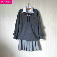 e49cacdc873 BOOCRE Fashion Long-sleeve Sweater Suit Preppy Style JK School Uniform  Autumn Sailor Uniform V-neck Sweater+Shirt+Tie+Skirt