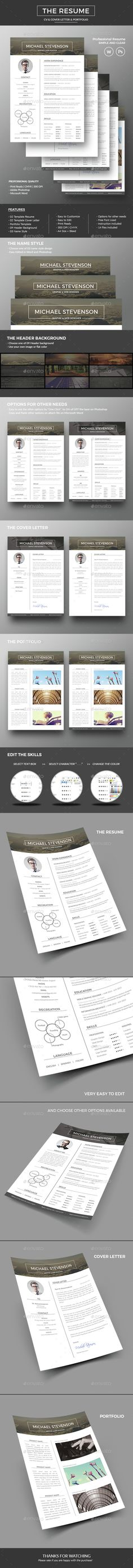 The Resume / CV — Photoshop PSD #resume template #clean • Available here → https://graphicriver.net/item/the-resume-cv/13916785?ref=pxcr
