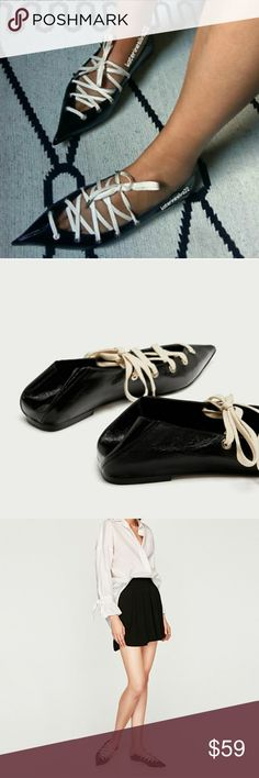 Zara shoes (6454) New with tag. EUR 40/41 US 9/10  Black ballerinas with contrasting laces in the front, pointed toes and fold-over back. Due to the characteristics of the leather, there may be irregularities in the item.  Sole height 0,5 cm. / 0.1″  UPPER 100% cow leather  LINING 100% goat leather  SOLE 100% thermoplastic rubber  SLIPSOLE 90% goat leather, 10% polyurethane Zara Shoes Flats & Loafers