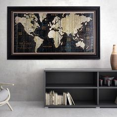 Wexford Home Avery Tillmon 'Old World Map Blue' Canvas Wall Art