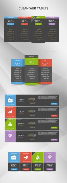 Clean Web Tables Template PSD. Download Here: Http://graphicriver.net