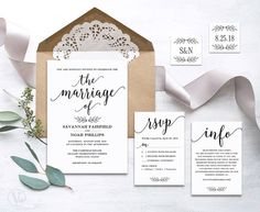Beautiful wedding invitation set. This wedding invitation template set includes five high-resolution templates: invitation card, rsvp card, details card, monogram and date seal/tag templates. These are INSTANT DOWNLOAD printable wedding invitation templates that are affordable and stylish. You can edit and print as many as you need. Print on kraft paper for rustic glam style or white/cream paper for a modern classic style. –––––––––––––––––––––––––––––– SIMPLE & EASY TO USE 1....