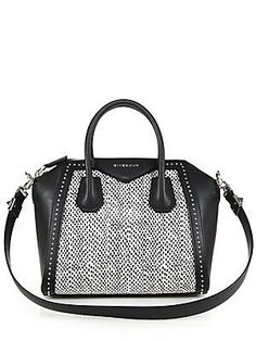 Givenchy Antigona Small Studded Leather & Spotted Snakeskin Satchel