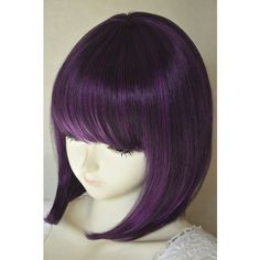 Liz Wig Gatsby 1920's Medium Long Straight Flapper Bob Heat Friendly Cosplay Party Costume Hair Wig 14'' 35cm (Black / Dark Purple)