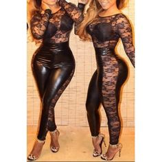 USD11.99Sexy O Neck Long Sleeves Lace Patchwork Hollow-out Black Spandex One-piece Skinny Jumpsuit