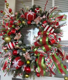 CHRISTMAS BOUTIQUE WINDOW - XL Christmas Candy Gingerbread Wreath Decoration by DecorClassicFlorals, $149.95