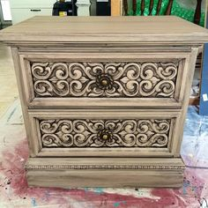 Night stand redone with Rethunk Junk furniture paint in Burlap and dark glaze to enhance the architecture.  #rethunkjunk #breakthechalkhabit #nowaxever