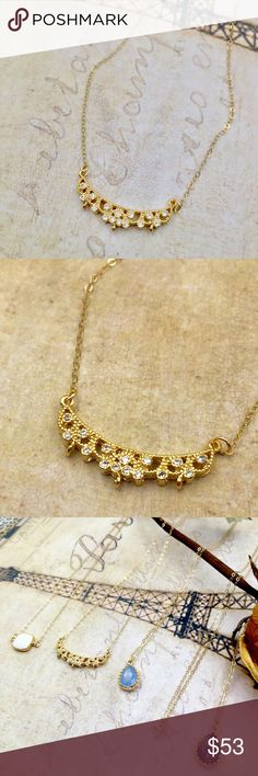 CZ diamond lace gold necklace Handmade piece with beautiful details. Very delicate and elegant. Gold filled chain with not tarnish or turn. Please check my closet for more high quality handmade pieces 💝 Jewelry Necklaces