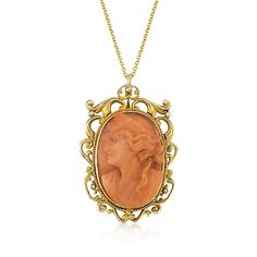 """C. 1970 Vintage Carved Red Coral Cameo Pendant Necklace in 14kt Yellow Gold. 18"""""""
