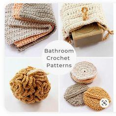 Crochet patterns that include crochet wash cloths, a crochet shower puff, crochet face scrubbies, crochet soap bag, and a crochet basket pattern. Crochet Faces, Crochet Motifs, Crochet Gifts, Free Crochet, Hand Crochet, Crochet Simple, Double Crochet, Single Crochet, Crochet Scrubbies