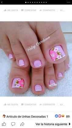New Nail Art Design, Cute Nail Art Designs, Toe Nail Designs, Toe Nails, Coffin Nails, Cute Pedicures, Mani Pedi, Nail Inspo, Nails Inspiration