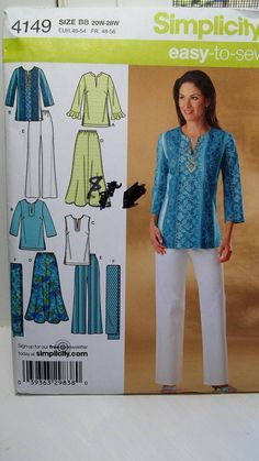 Women's Easy to Sew Wardrobe Simplicity 4149 Sewing