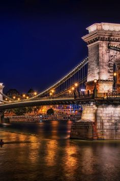 Chain Bridge, Budapest, Hungary One side of the river is the city Buda.the other side is the city Pest. Places To Travel, Places To See, Places Around The World, Around The Worlds, Les Balkans, Budapest Hungary, Eastern Europe, Dream Vacations, Wonders Of The World