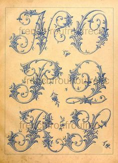 DIGITAL DOWNLOAD DIGITAL DOWNLOAD antique VICTORIAN French alphabet letters embroidery pattern LEAVES DESIGN complete alphabet PLEASE NOTE THE