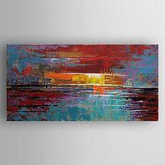 Handgeschilderde Abstract Horizontaal,Modern Eén paneel Canvas Hang-geschilderd olieverfschilderij For Huisdecoratie
