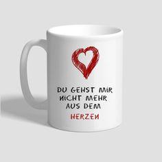 Tasse – Du gehst mir nicht mehr  aus dem  Herzen Andreas, Mugs, Tableware, Birthday, Gifts, Dinnerware, Cups, Mug, Dishes