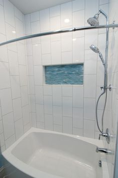 White tile tub surround with aqua accent shelf. New Homes, White Tiles, Remodeling Projects, Remodel, Tub Surround, Residential, New Carpet, Renovations, Tile Tub Surround