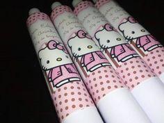 Bisnaga Personalizada no tema Hello Kitty Marrom e Rosa.  Personalizamos em qualquer tema.    Valor da bisnaga vazia.